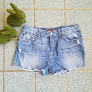7 For All Mankind High Waist Stretch Denim Shorts